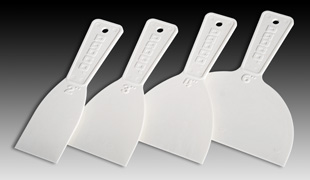 Padco's plastic putty knives are available in four different sizes