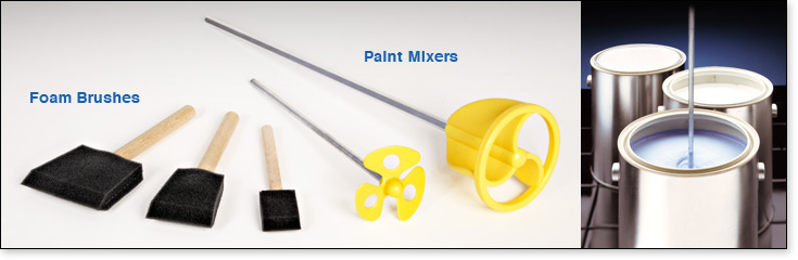 Three Foam Brushes and Two Paint Mixers from Padco.